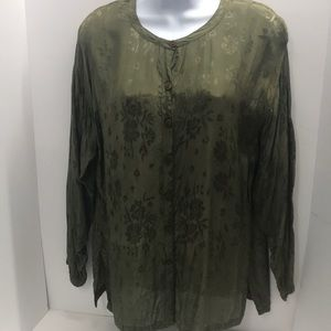 Sacred Threads Blouse size S/M Green Sage floral